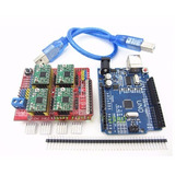 Kit Cnc Shield + 4 Drivers A4988 Con Disipador + Arduino Uno