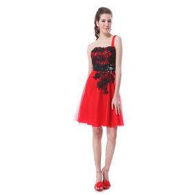 Vestido Corto Apliques Guipiur Y Cristales Ever Pretty