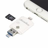 Adaptador Leitor Pen Drive Cartão Micro Sd Ipad Iphone 7 8 X