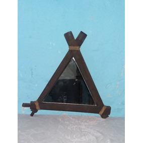 Antiguo Espejo Triangular Marco Pique Viejo 60x60x60cm