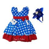 Vestido Festa Infantil Azul C/ Bolinha Pintadinha Com Tiara
