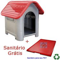 Casinha Plástico Demontável Cachorro Sanitáro Gráti Vermlha
