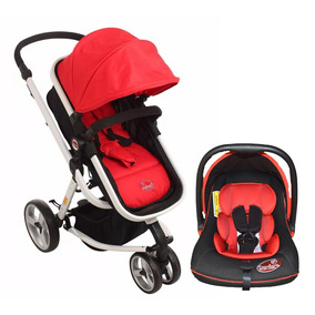 Carrinho Moisés 3 Rodas Vermelho + Bebê Conforto - Dardara