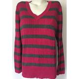 Tommy Hilfiger Sweater Chaleco Cuello V Gris/fucsia Xl
