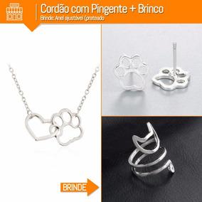 Brinco + Colar E Pingente Patinha Amo Meu Gato + Brinde