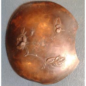 Antiguo Cuenco Grulla Oriental China Japon Metal Cobreado