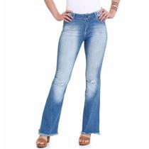 Calça Feminina Flare Em Jeans Barra Desfiada! Nova