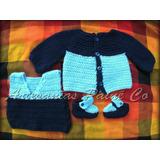 Abrigo Bebé Tejido A Crochet. Saquito, Chaleco, Escarpines