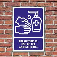 Señalamiento Obligatorio El Uso De Gel Antibacterial 24x34cm