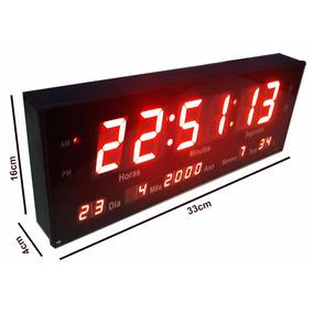 Relógio De Parede Digital Temperatura E Alarme