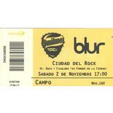 Entrada Blur En Argentina - Noviembre 2013