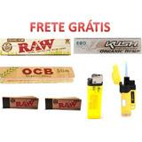 Kit 3 Papel P/ Fumo + 2 Piteiras Raw + Maçarico Tabacaria