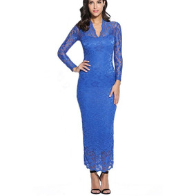 Vestidos De Fiesta Largo Encaje Azul Envio Gratis! Serenity