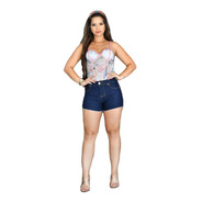 Short Jeans Amaciado Cintura Alta Sh002 By Bellatotti