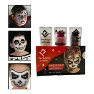 Kit Maquillaje Halloween Labial X 3 Negro Blanco Rojo Cara