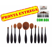 Kit 10 Pinceis Ovais Pincel Oval = Mac Macrilan + Brinde