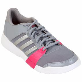 Tenis Correr adidas Essential Fun Dama Gris+rosa