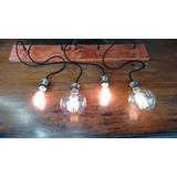 Colgante Retro Vintage 4 Luces Cable Textil Base Y Lamparas