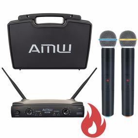 Microfone Sem Fio Duplo De Mão Uhf Amw Au58 C/ Estojo . Loja