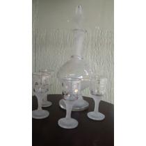 Conjunto Garrafa Pra Licor Cristal Com Quatro Copos
