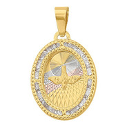 Medalla Espíritu Santo Oval 3col Diam Oro 10k - 1718