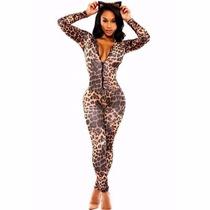 Sexy Body Completo Animal Print Leopardo Con Mangas Largas
