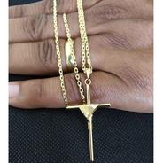 Corrente Banhada Ouro Cartier 60 Cm Com Pingente Crucifixo Banhado A Ouro 1 Ano De Garantia Qmaximo Promoção 50%off