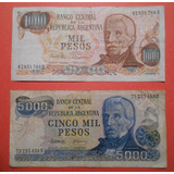 Billetes De Argentina De 1000 Y 5000 Pesos Series H Y B