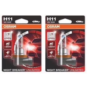 Par Lâmpada H11 Osram Night Breaker Unlimited 3600k 110% Luz