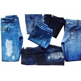 Kit 2 Calças Legguim Jeans Suplex Infantil Atacado Revenda