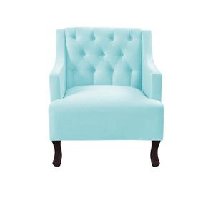 Poltrona Decorativa Onix Suede Azul Bebê Delicado Promoção