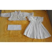 Roupa Roupinha Batizado Bebê Menina Vestido Tam. 3 A 6 Meses