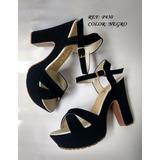 Sandalia Negra De Tacón 7 1/2 Zapatos Altos Elegantes Moda