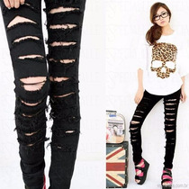Calça Feminina Jeans Rasgada Preta Ou Branca Cintura Alta