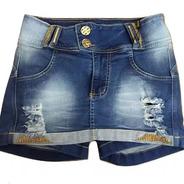 Short Saia Jeans Feminina Com Strass Bojo Levanta Bumbum