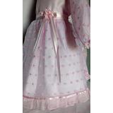 Vestido Beba Nena Bautismo Rosa Bordado 1año 2años