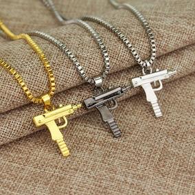 Colar + Pingente / Hip Hop / Revolver - Pistola Automática