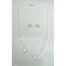 Elegante Collar Tiffany Corazones Con Aretes De Plata 925