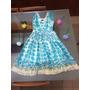 Traje De Fiesta Corto Estampado Marca Vestimenta Escote Azul