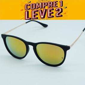 Óculos Feminino Redondo Érica Dourado Espelhad Polarid Uv40 5bce0dd230
