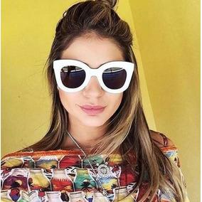 Óculos Sol Feminino Grande Gato Branco Case Retro Celine eef0aed493