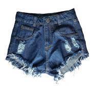 Shorts Jeans Feminino Cintura Alta Desfiado Hot Pants St011