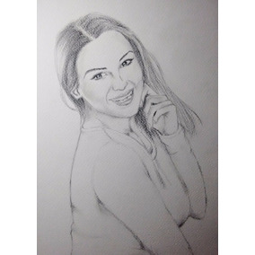 Dibujo Retrato Hecho A Mano Con Lápiz 22.9x30.5cm