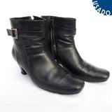 Zapatos Tipo Botines De Cuero Azul Oscuro Talla 39 Usados