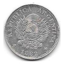 Moneda Plata 20 Centavos Patacon Año 1882 Muy Buena