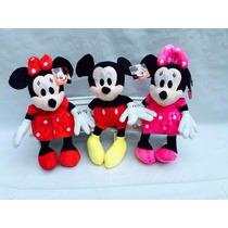 Boneco De Pelucia Disney Mickey Minie Rosa E Vermelha + Som