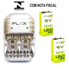 2 Baterias Flex 450 Recarregavel 9v Com Carregador Pilha C03