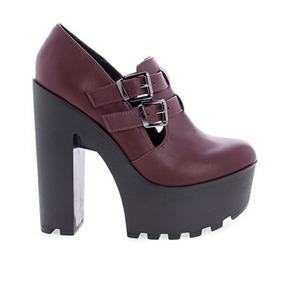 Zapatos Taco Alto Plataforma Con Hebilla Nuevos Importados