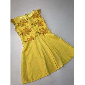 Vestido Feminino Festa Renda E Shantung Amarelo Tam M