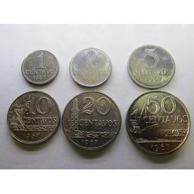 Moedas De 1/2/5/10/20 E 50 Centavos 1967 - Série Completa